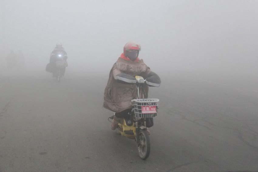 12月7日,江苏省赣榆市民在雾中出行。