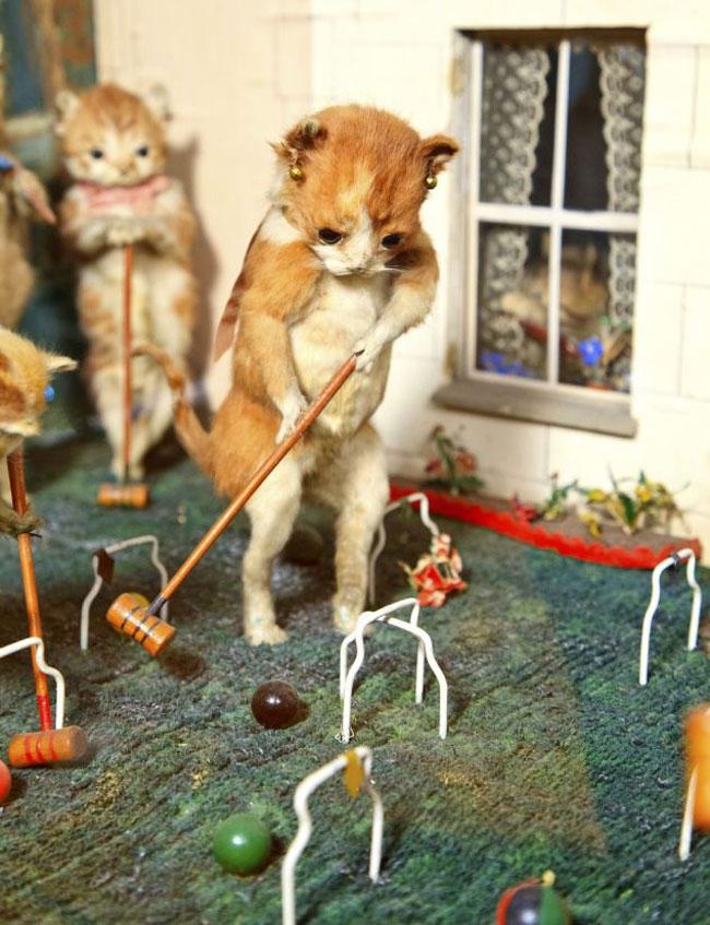 他将填充好的动物标本打扮成维多利亚时代的形象,比如小猫打门球,兔子